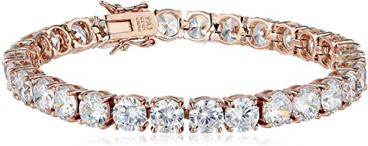 """Amazon.com: Amazon Essentials Rose Gold Plated Sterling Silver Round Cut Cubic Zirconia Tennis Bracelet (6mm), 7.25"""": Jewelry"""