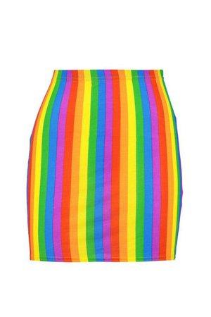 Rainbow Bodycon Mini Skirt | Boohoo