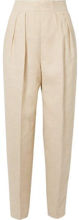 Pleated Linen Tapered Pants - Beige