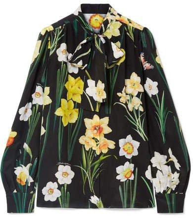 Pussy-bow Floral-print Silk Crepe De Chine Blouse - Black