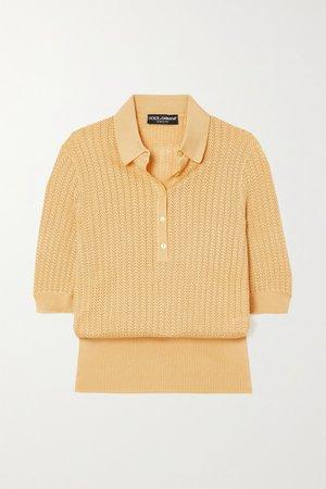 Yellow Crocheted silk top   Dolce & Gabbana   NET-A-PORTER