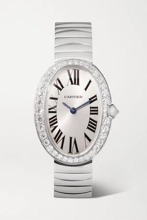 White gold Baignoire 24.5mm small 18-karat white gold and diamond watch | Cartier | NET-A-PORTER