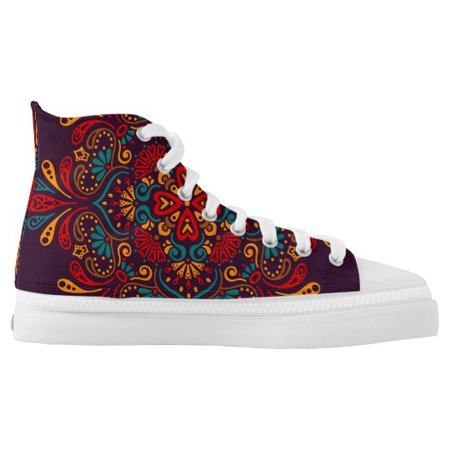 Boho Bohemian Mandala Flower Design High-Top Sneakers   Zazzle.com