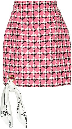 Printed Cotton-Blend Mini Skirt Size: 36