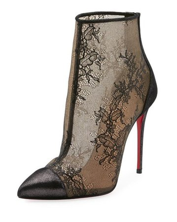 Christian Louboutin Black Gipsybootie Gipsy 100 Floral Lace Ankle Heels Boots/Booties Size EU 39.5 (Approx. US 9.5) Regular (M, B) - Tradesy