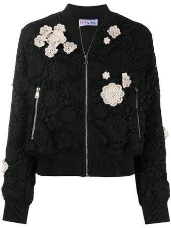 RED Valentino floral-appliqué Bomber Jacket - Farfetch