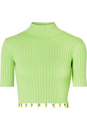 STAUD | Rocky embellished ribbed cotton turtleneck top | NET-A-PORTER.COM