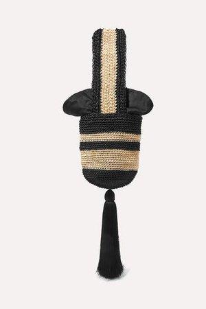Tasseled Striped Woven Straw Tote - Black