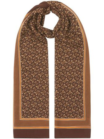 Shop brown Burberry monogram print chiffon scarf with Express Delivery - Farfetch