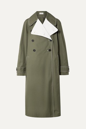 Hazina Double-breasted Two-tone Cotton-gabardine Coat - Army green