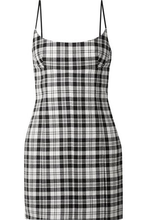 ALEXANDER WANG Tartan wool mini dress