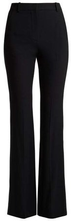 High Rise Crepe Tuxedo Trousers - Womens - Black