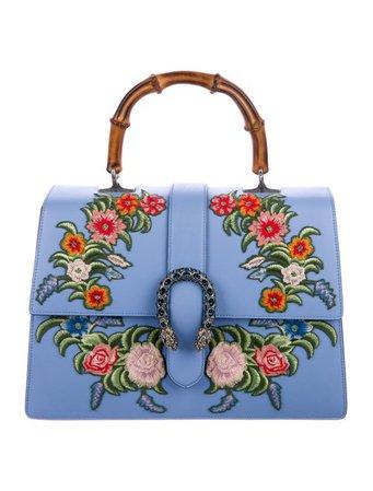 Gucci Embroidered Dionysus Bamboo Top Handle Bag - Handbags - GUC253661 | The RealReal