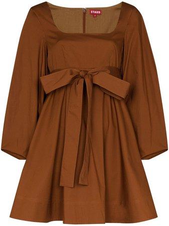 STAUD Isabella square-neck Mini Dress - Farfetch