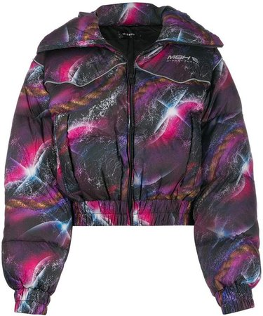 Galaxy-print down jacket