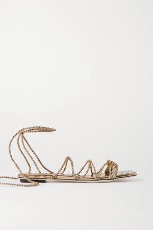 Serena Uziyel - Ophilia Metallic Braided Rope Sandals - Gold