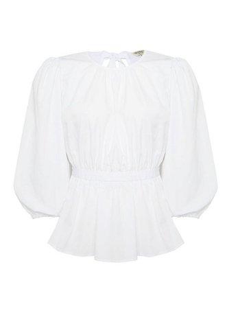 White Poplin Tie Back Blouse | Miss Selfridge