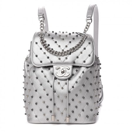 CHANEL Metallic Lambskin Chevron Quilted Studded Stud Wars Backpack Silver 496236