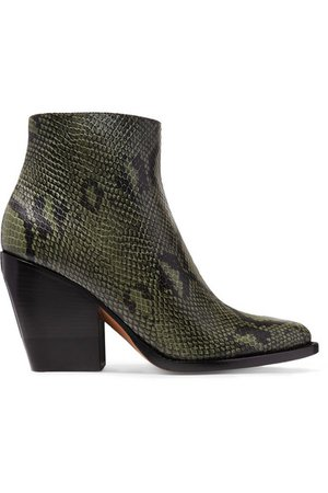 Chloé   Rylee snake-effect leather ankle boots   NET-A-PORTER.COM