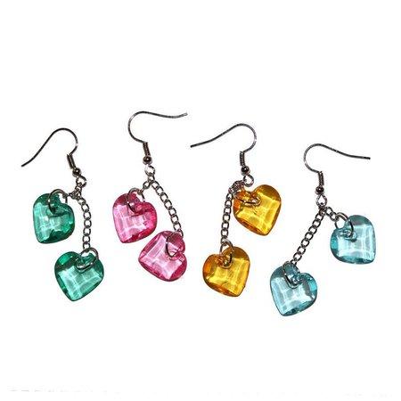 Sweet Little Heart Earrings clear acrylic pink heart | Etsy