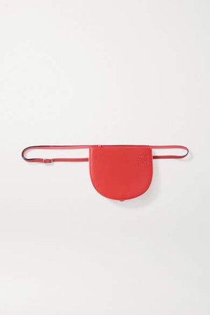 Heel Two-tone Leather Shoulder Bag - Red
