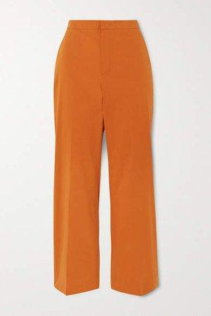 Cotton-blend Twill Straight Leg Pants - Coral