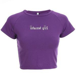 Internet Girl Crop Top Belly Shirt Tumblr Vintage Retro | Kawaii Babe