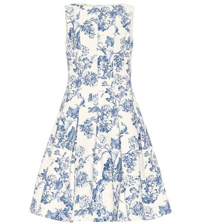 Floral stretch cotton toile dress