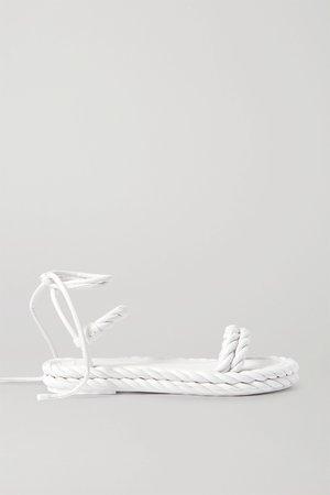 White Valentino Garavani braided leather sandals | Valentino | NET-A-PORTER
