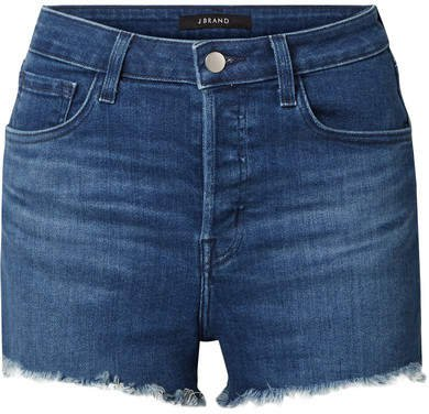 Gracie Distressed Denim Shorts - Dark denim