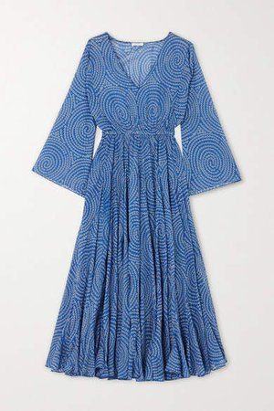 Emily Printed Cotton-voile Midi Dress - Blue