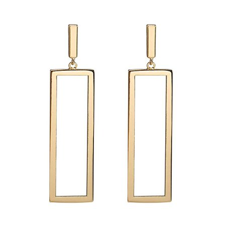 Geometric Drop Earrings, Rectangle Drop Earrings for Women Girls (Gold): Clothing