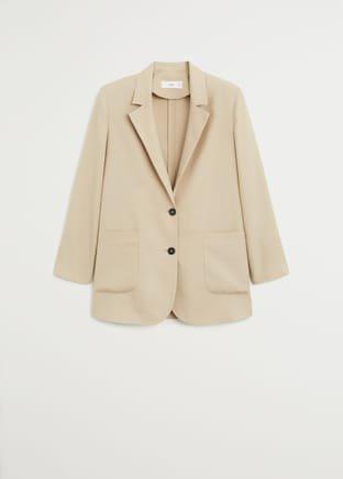 Buttoned soft blazer - Women   Mango USA cream