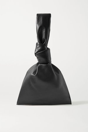Black BV Twist knotted leather clutch | Bottega Veneta | NET-A-PORTER