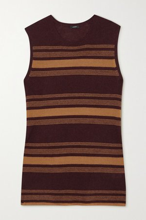 Striped Ribbed Cashmere Tank - Brown