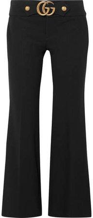 Embellished Stretch-crepe Flared Pants - Black