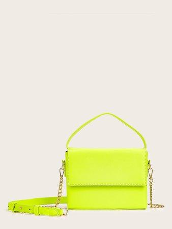 Neon Lime Chain Strap Satchel Bag | SHEIN