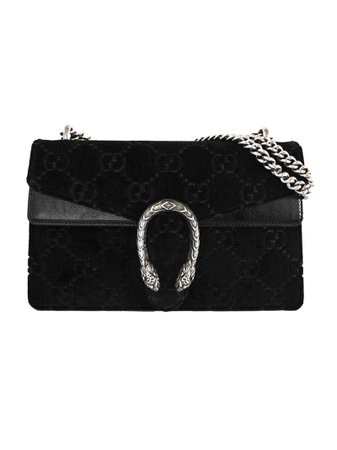 Gucci Black Dionysus Gg Velvet Small Shoulder Bag