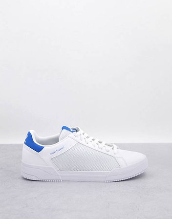 adidas Originals Court Tourino sneakers in white with blue heel tab | ASOS