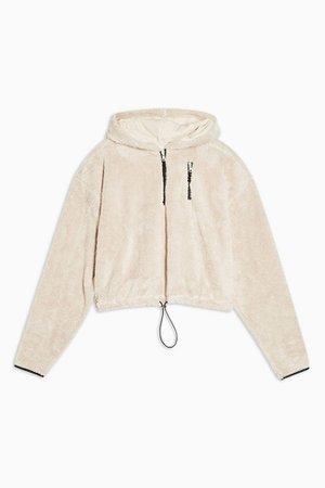 Cream Cropped Borg Half Zip Sweatshirt | Topshop