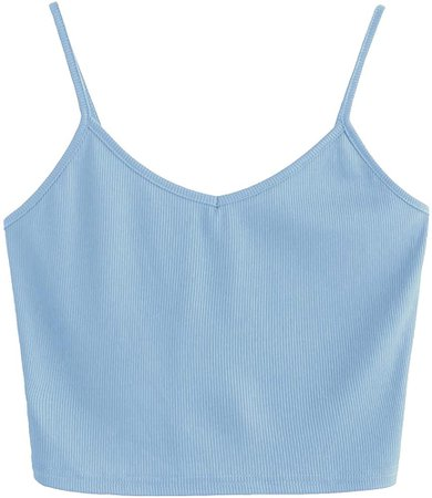 SheIn Women's Casual V Neck Sleeveless Ribbed Knit Cami Crop Top Blue Small at Amazon Women's Clothing store