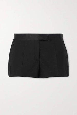 Silk Satin-trimmed Wool-blend Shorts - Black