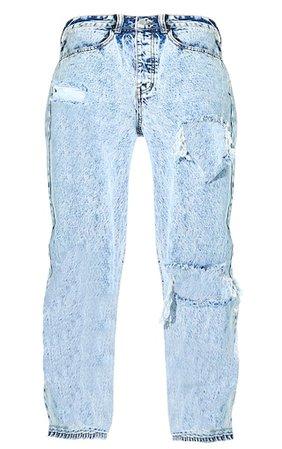 Plt Acid Blue Wash Open Knee Boyfriend Jean | PrettyLittleThing USA