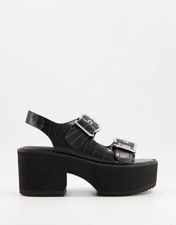 ASOS DESIGN Howdie chunky heeled sandals in black | ASOS