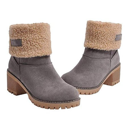 Amazon.com | Athlefit Women's Winter Snow Boots Warm Suede Chunky Heel Fur Lined Winter Boots | Snow Boots