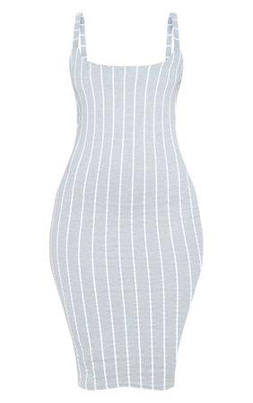 Grey Striped Midi Dress   Dresses   PrettyLittleThing