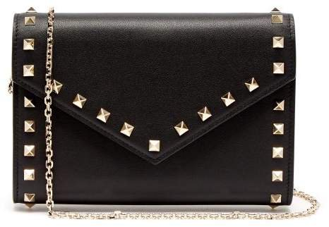 Rockstud Leather Envelope Clutch - Womens - Black