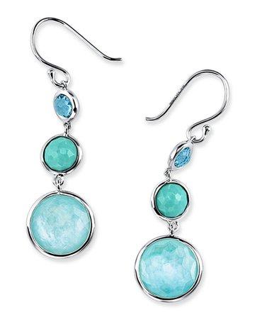 Ippolita Small Silver Lollitini Three-Stone Earrings in Eclipse | Neiman Marcus