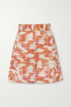 Robin Printed Linen Shorts - Orange