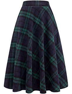 YSJERA Women's Wool Midi Skirt A-Line Pleated Vintage Plaid Winter Swing Skirts